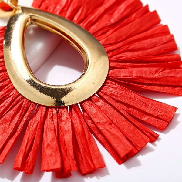 Bohemian Tassel Drop Shaped Ear Tops - Red
