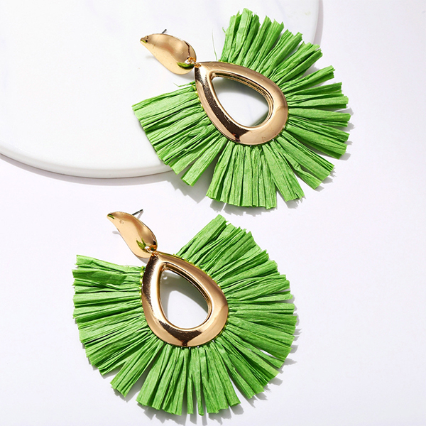 Bohemian Tassel Drop Shaped Ear Tops - Green