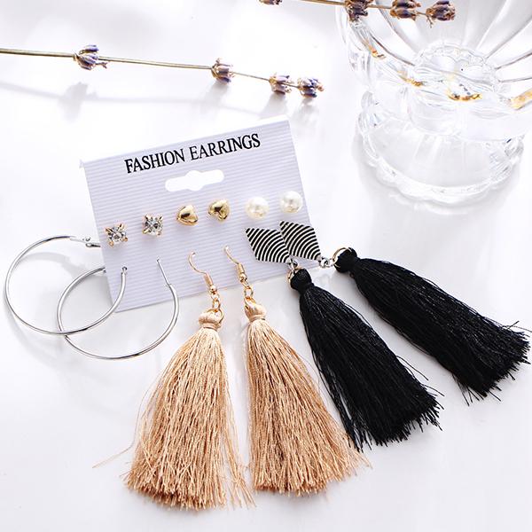 Three Pieces Tassel Decorative Earrings Set