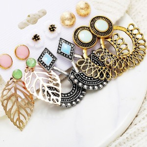 Bohemian Six Pieces Multi Design Engraved Earrings Set