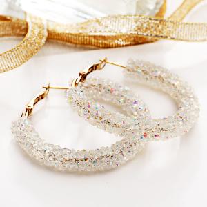 Crystal Decorative Party Wear Earrings - White