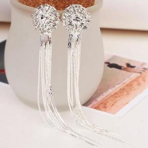Crystal Tassel Silver Plated Party Wear Earrings