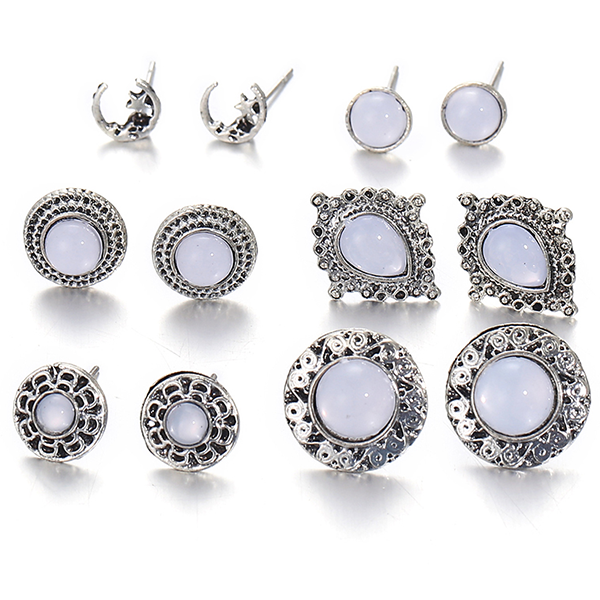 Rhinestone Decorated Six Pair Ear Tops Set