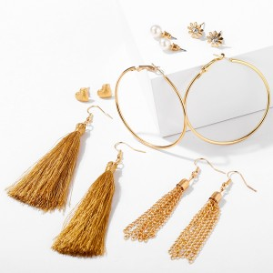 Ring Shape Tassel Style Six Pairs Ear Tops Earrings