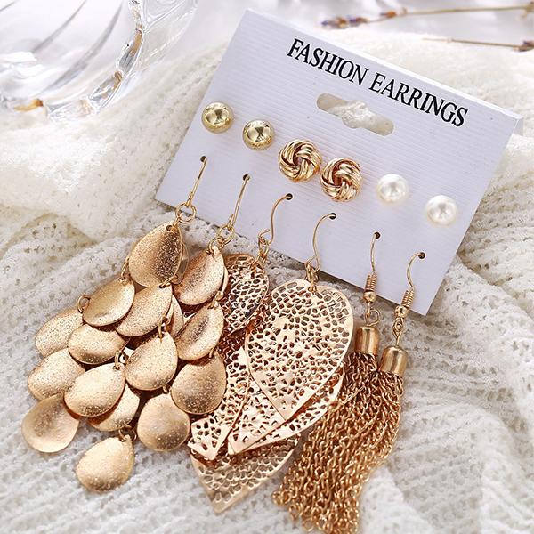 Six Pairs Tassel With Multiple Shape Earrings Set