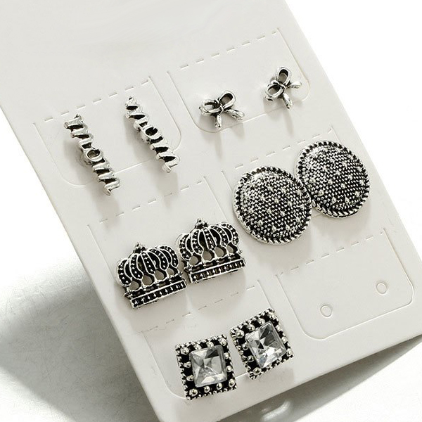 Boho Crown Engraved Silver Plated Earrings Set