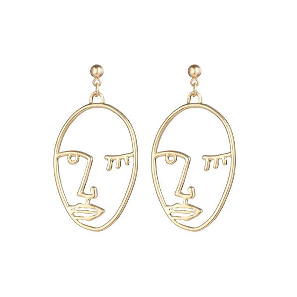 Golden Winking Face Engraved Earrings