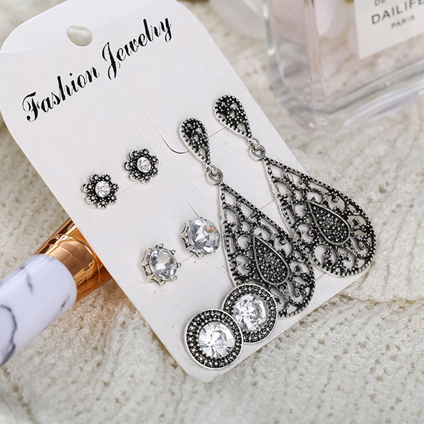 Bohemian Engraved Crystal Earring With Tops Set