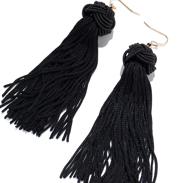 Attractive Black Party Style Tassel Tops
