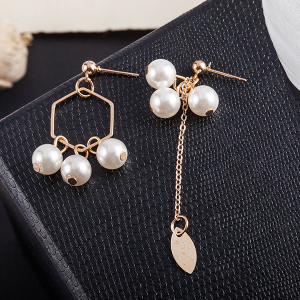 Pearl Decorative Gold Plated Chain Earrings Pair