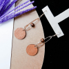 Paper Clip Shape Coin Hanging Earrings Pair