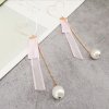 Heart Mold Ribbon With Chain Earrings - Pink