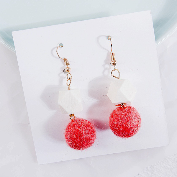Carved Stone With Sphere Party Wear Earrings - Pink