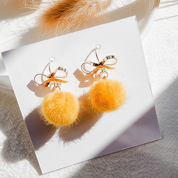 Bow Balls Party Wear Ear Tops - Yellow