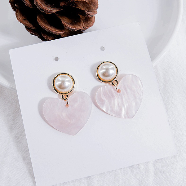 Heart Pearl Exclusive Party Wear Ear Tops