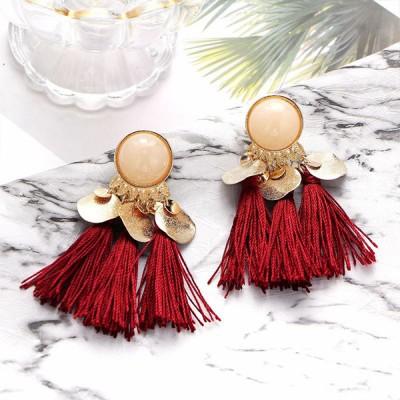 Pearl Decorative Tassel Earrings - Red