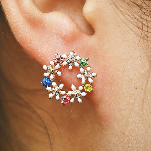 Floral Patched Round Shape Ear Tops
