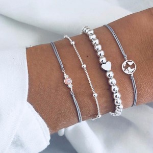 Four Layered Pearl Decorated Bracelets Set