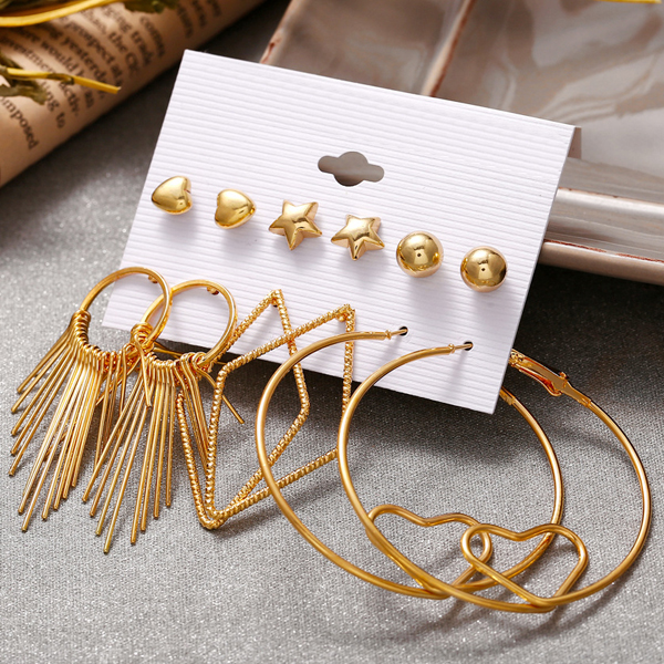 Creative Gold Plated Tassel Circle Earrings - Golden