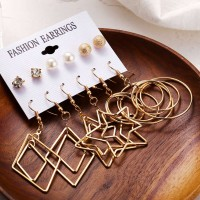 Modern Gold Plated Six Pairs Ear Jewellery Set