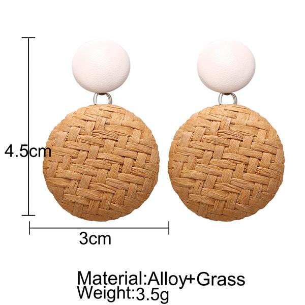 Boho Patterned Round Casual Wear Earrings - Brown