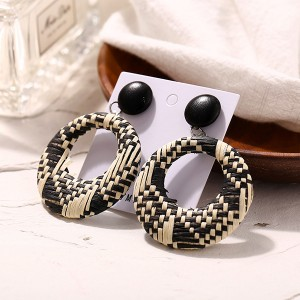 Checks Textured Spiral Casual Earrings - Black