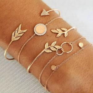 Engraved Nature Beauty Golden Bracelets Set