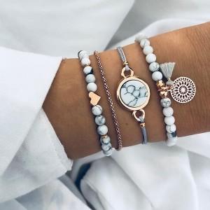 Vintage Style Marble Textured Bracelets Set