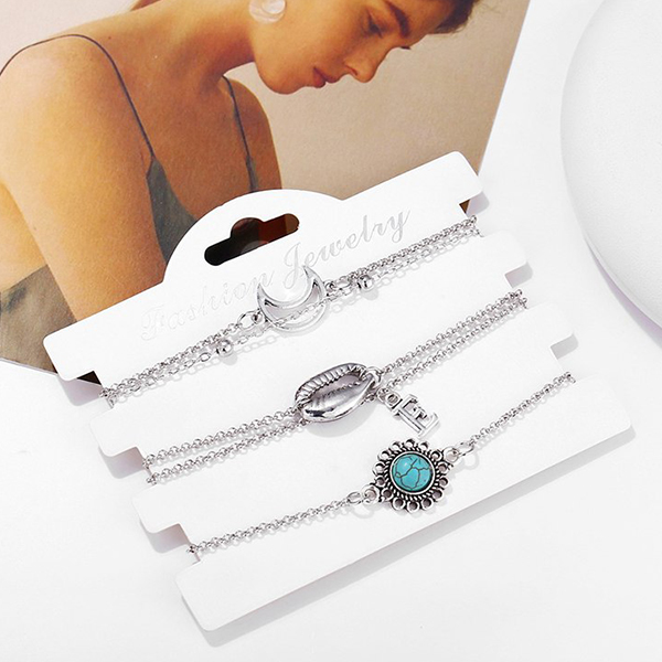 Silver Plated Sea Shell Rhinestone Bracelets Set