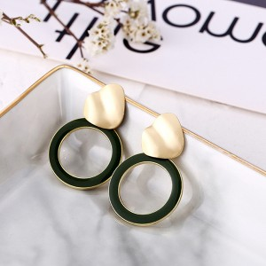 Spherical Gold Plated Contrast Earrings - Black