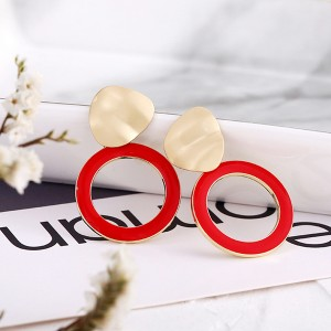 Spherical Gold Plated Contrast Earrings - Red