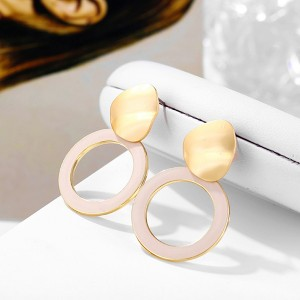 Spherical Gold Plated Contrast Earrings - Khaki