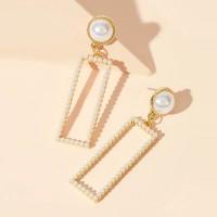 Rectangle Pearl Decorative Fancy Party Earrings