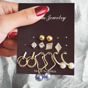 Six Pairs Crystal Patched Earrings Set