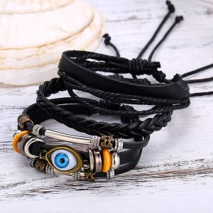Eye Patched PU Leather Casual Bracelet Belt
