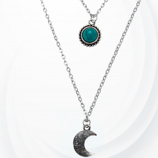 Triple Layered Rhinestone Moon Casual Necklace