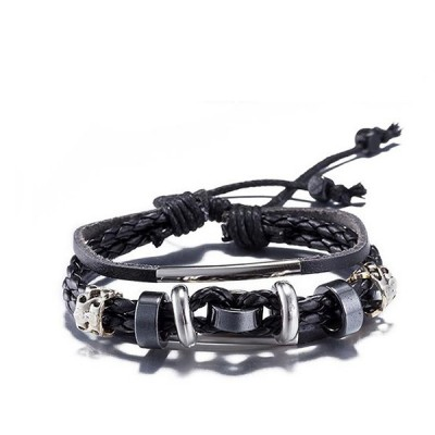 Stylish Leather Antique Silver Charms Wrap Geometrical Bracelet