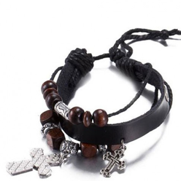 Cross Bracelet Adjustable Rope Chain Lace Leather Unisex