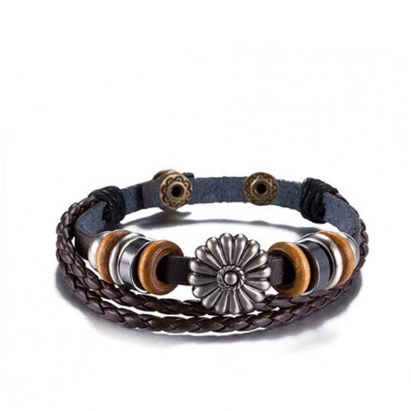 Flower Shape Buckle Spring Leather Bracelet