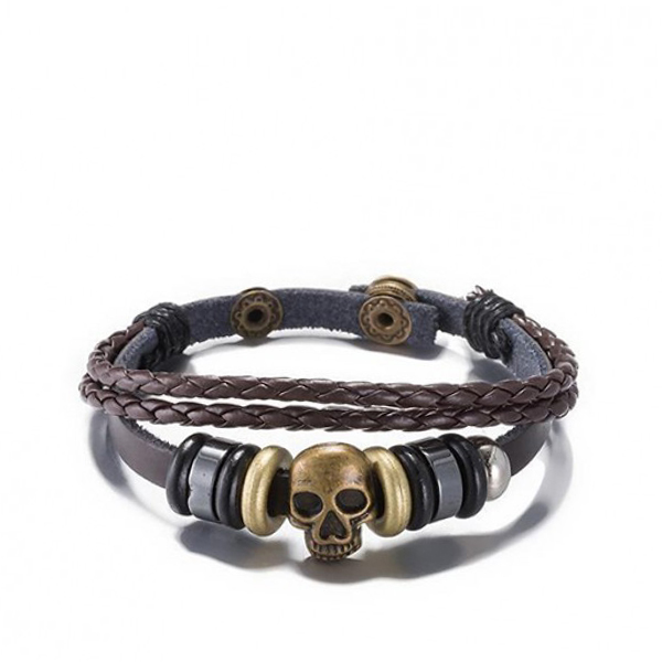 Skull Shape Buckle Spring Leather Bracelet Black