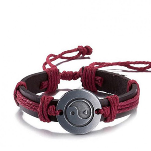 Lace Rope Round Shape Zinc Alloy Charm Leather Bracelet