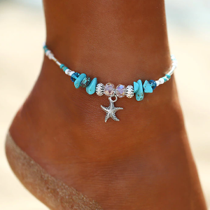 Boho Decorated Chain Anklet - Green