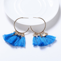 Bohemian Tassel Casual Wear Earrings Set - Blue