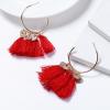 Bohemian Tassel Casual Wear Earrings Set - Red