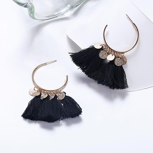 Bohemian Tassel Casual Wear Earrings Set - Black