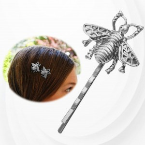 Bee Engraved Casual Use Hair Clip - Silver