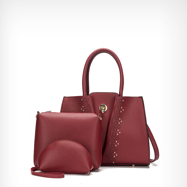 Hollow Texture Synthetic Leather Handbags Set - Red