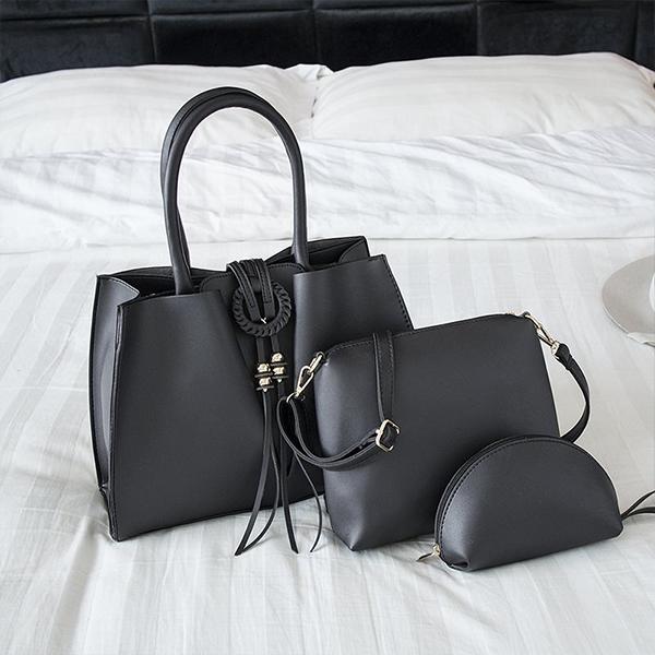 Tassel Three Pieces Handbags Set - Black