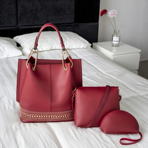 Synthetic Leather Formal Office Handbags Set - Red