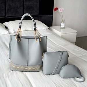 Synthetic Leather Formal Office Handbags Set - Grey